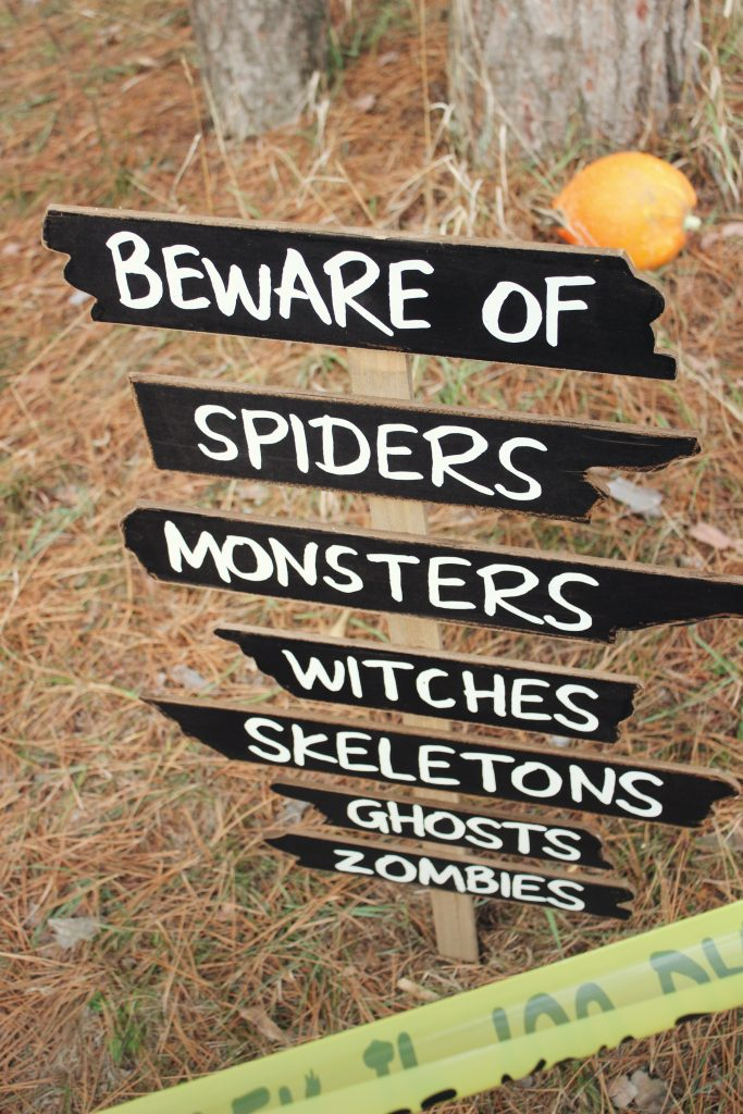 beware of spiders, monsters, witches, skeletons, ghosts, zombies